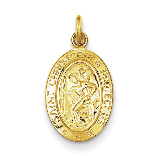 Saint Christopher Medal 24k Gold-plated Sterling Silver QC5626