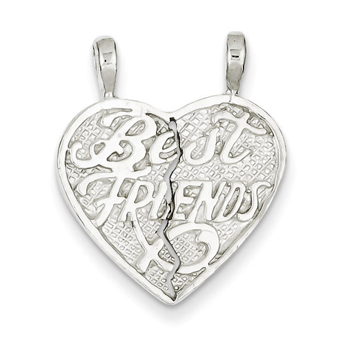 Best Friends 2-piece break apart Heart Charm Sterling Silver QC600