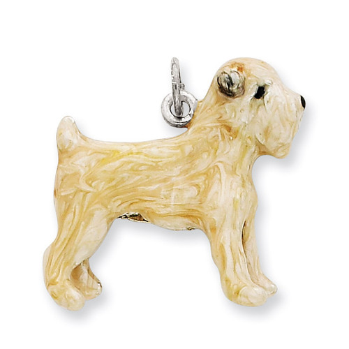 Silver Enamel Soft Coated Wheaton Terrier Charm Sterling Silver QC6427
