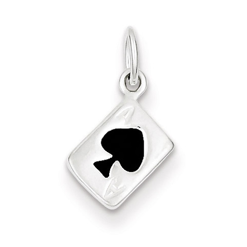 Ace Of Spades Card Charm Sterling Silver Enameled QC6986