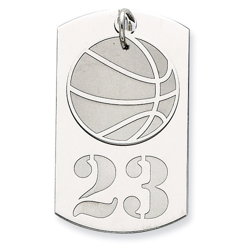 Personalizable 2-piece Basketball Dogtag Charm Sterling Silver QC7207