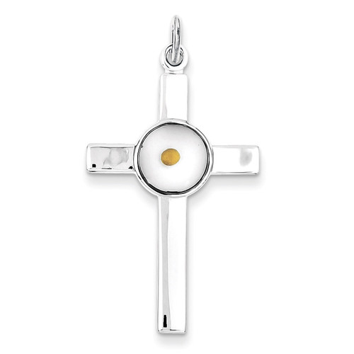 Epoxy Cross with Mustard Seed Pendant Sterling Silver Polished QC7259