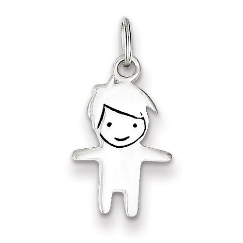Boy Charm Sterling Silver Enameled QC7516