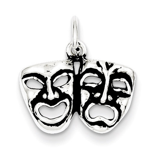 Comedy Tragedy Face Charms Antiqued Sterling Silver MPN: QC7731