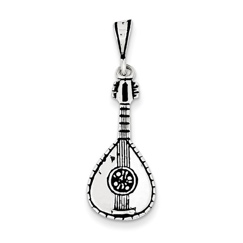 Mandolin Charm Antiqued Sterling Silver QC7762