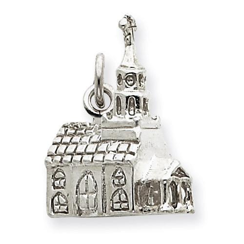 3-D Church Charm Sterling Silver QC992