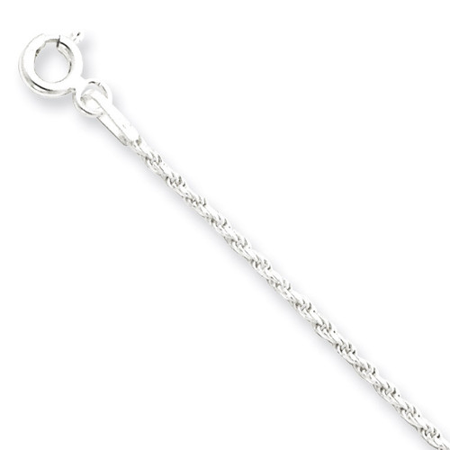 9 Inch 1.5mm Diamond-cut Rope Chain Sterling Silver QDC020-9