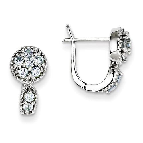 Aquamarine Circle Hinged Earrings Sterling Silver QE10113AQ