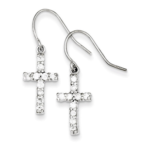 Cross Earrings Sterling Silver Diamond QE1012