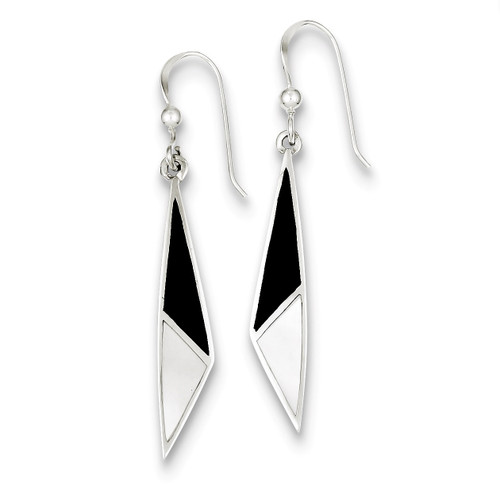 Onyx & Mother of Pearl Earrings Sterling Silver QE2726