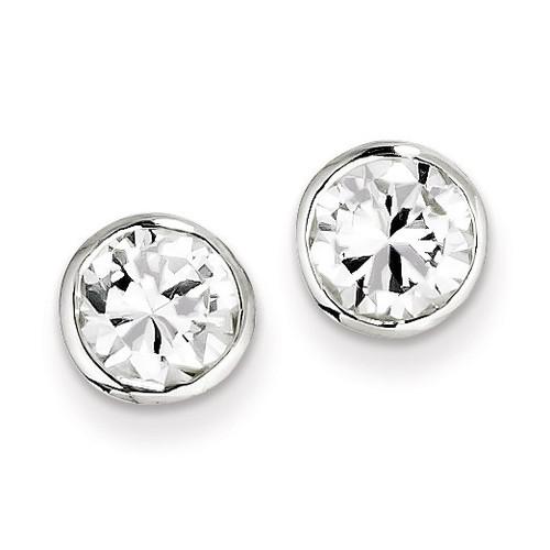 7mm Diamond Round Bezel Stud Earrings Sterling Silver QE3176
