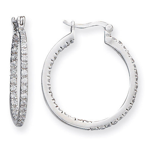 Hoop Earrings Sterling Silver Diamond QE3242
