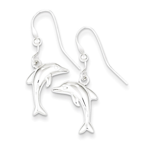 Dolphin Dangle Earrings Sterling Silver Polished QE6956