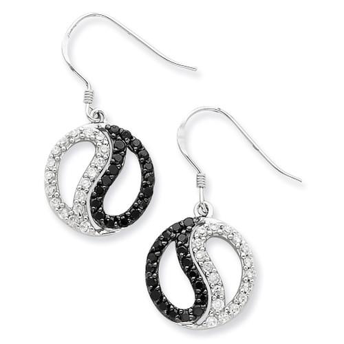 Black & White Diamond Yin Yang Dangle Earrings Sterling Silver QE7341