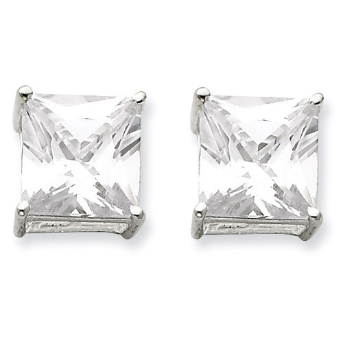 10mm Square Diamond Basket Set Stud Earrings Sterling Silver QE7510