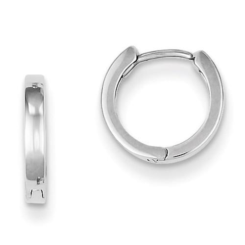 Polished Hinged Hoop Earrings Sterling Silver Rhodium QE8491