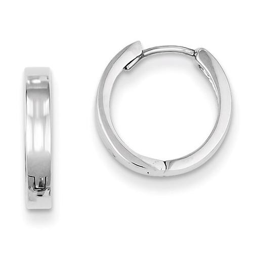 Polished Hinged Hoop Earrings Sterling Silver Rhodium QE8494