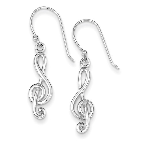 Music Treble Clef Shepherd Hook Earrings Sterling Silver QE8794