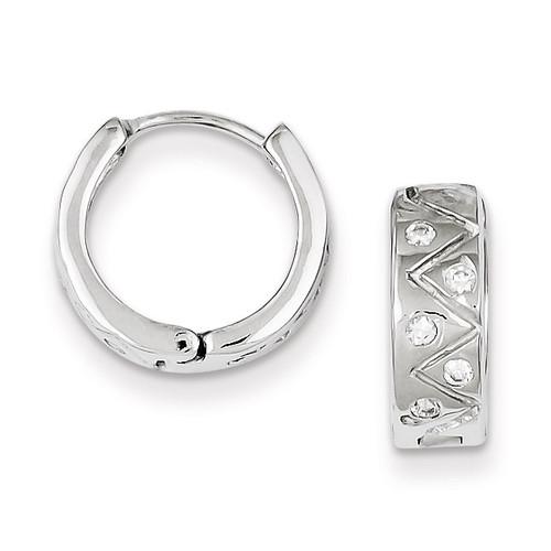 Hinged Hoop Earrings Sterling Silver Rhodium-plated Diamond QE9202