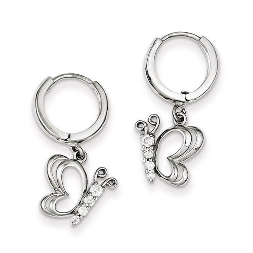 Butterfly Dangle Hinged Hoop Earrings Sterling Silver Diamond QE9233
