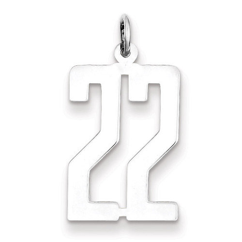 Number 22 Pendant Sterling Silver Elongated Polished QEM22