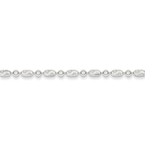 10 Inch 3mm Polished Round and Textured Oval Bead Anklet Sterling Silver QFC167-10