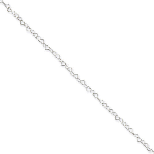 18 Inch 3.5mm Fancy Heart Link Necklace Sterling Silver QFC81-18