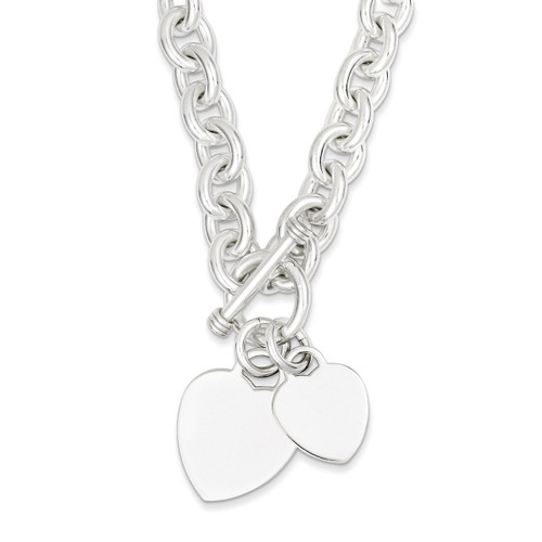 8.75 Inch Heart Disc on Fancy Link Toggle Bracelet Engraveable Sterling Silver QG1148-8.75