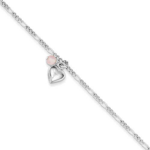 10 Inch Cherry Quartz & Dangling Hearts on Figaro Link Anklet Sterling Silver QG1214-10