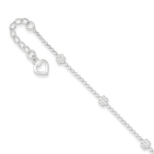 10 Inch Flower Anklet Sterling Silver Polished QG1236-10