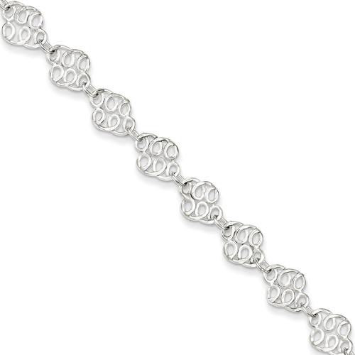 10 Inch Polished Anklet Sterling Silver Fancy QG1239-10