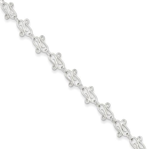 10 Inch Polished Anklet Sterling Silver Fancy QG1240-10