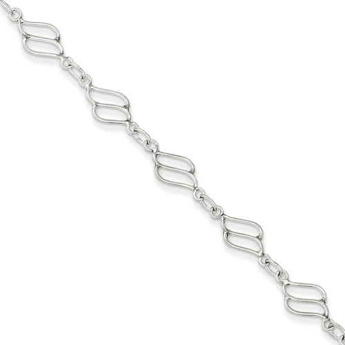 10 Inch Polished Anklet Sterling Silver Fancy QG1241-10