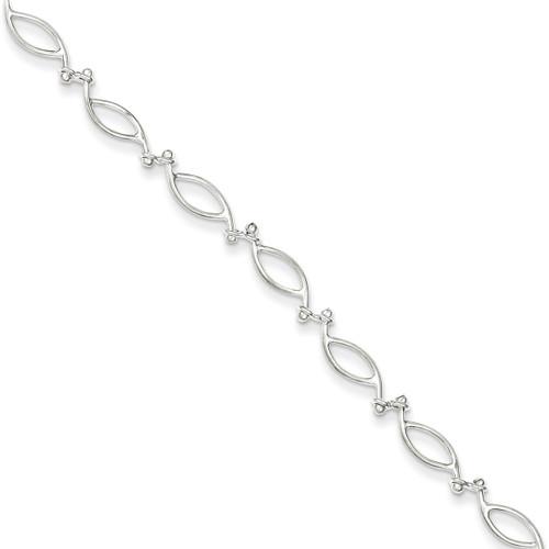 10 Inch Polished Anklet Sterling Silver Fancy QG1243-10