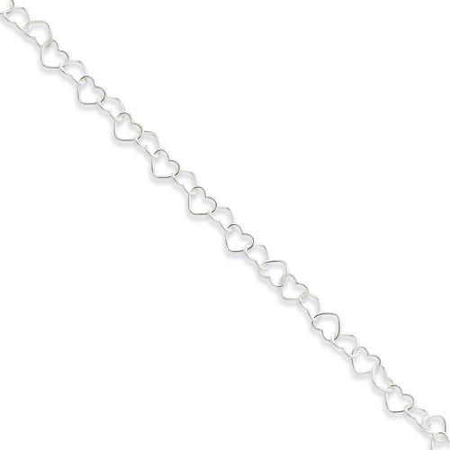 10 Inch 0.6mm Fancy Heart Link Anklet Sterling Silver QG1346-10