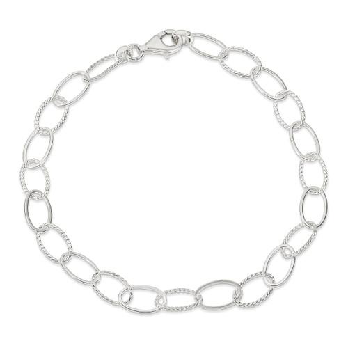 10 Inch Link Anklet Sterling Silver Fancy QG1369-10