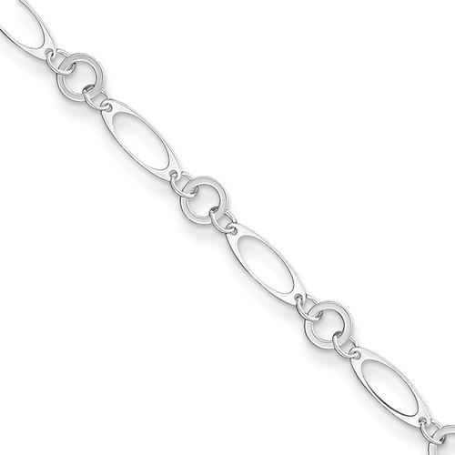 10 Inch Link Anklet Sterling Silver Fancy QG1372-10
