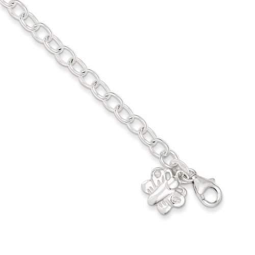 10 Inch Oval Rolo Link with Butterfly Anklet Sterling Silver QG1382-10