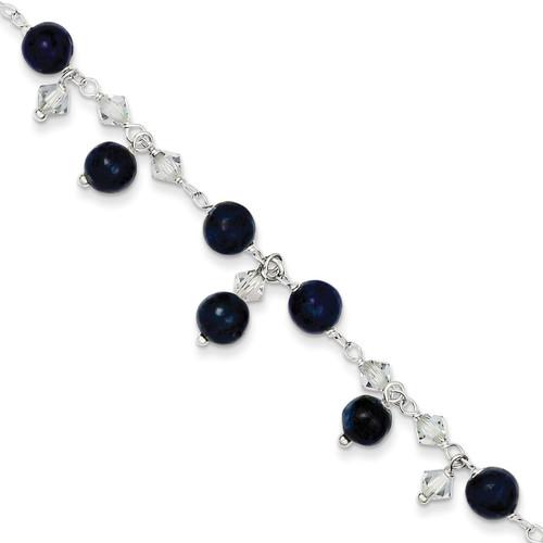 9 Inch Shadow Crystal Lapis Anklet Bracelet Sterling Silver QG1396-9