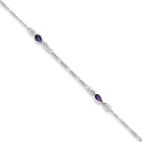 9 Inch Amethyst Ankle Bracelet Sterling Silver QG1403-9