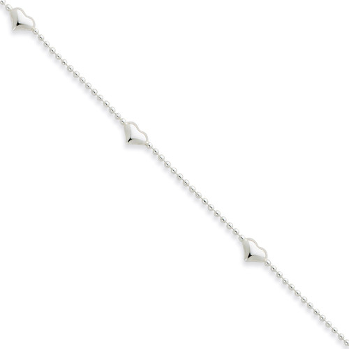 10 Inch Dangling Heart Anklet Sterling Silver QG1435-10