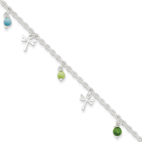 10 Inch Dragonflies Aqua & Green Beads 9in 1ext. Anklet Sterling Silver Polished QG2142-10