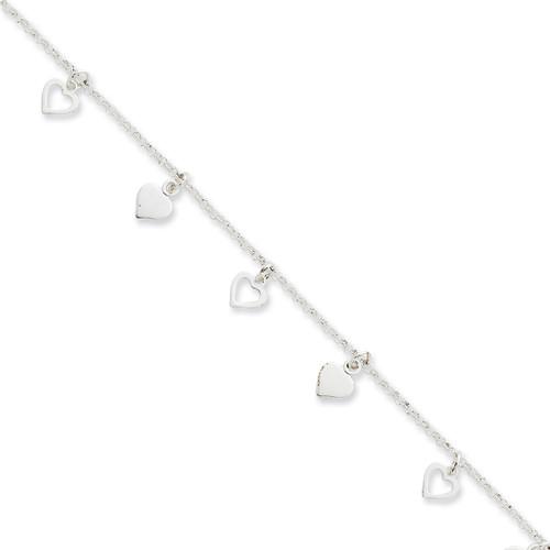 10 Inch Hearts Anklet Sterling Silver Polished QG2143-10