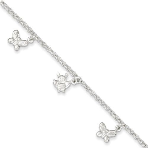 10 Inch Butterflies & Bumble Bee Anklet Sterling Silver Polished QG2146-10