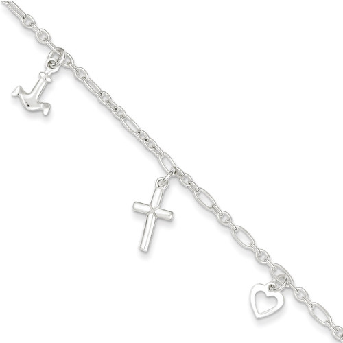 10 Inch 10 Anklet Sterling Silver QG2149-10