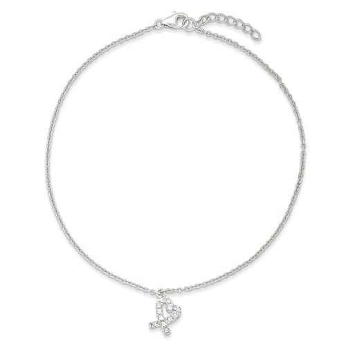 10 Inch 10 1in ext Hanging Diamond Heart Anklet Sterling Silver QG2789-10