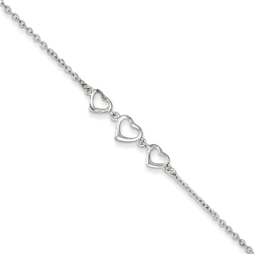 10 Inch 10 1 in ext Three Hearts Anklet Sterling Silver QG2809-10