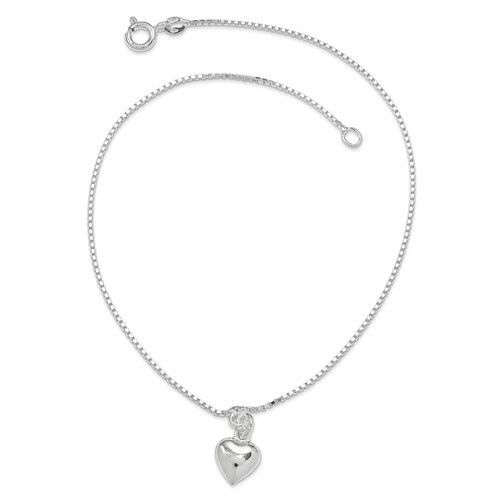 10 Inch 3-Dimensional Puffed Heart Anklet Sterling Silver Polished QG283-10