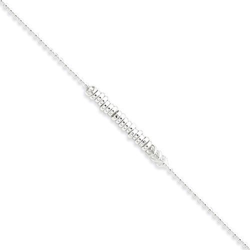 10 Inch Fancy Love Ring Anklet Sterling Silver Polished QG286-10