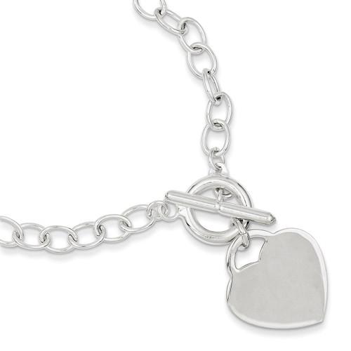 7.5 Inch Oval Link Heart Bracelet Sterling Silver QG3280-7.5